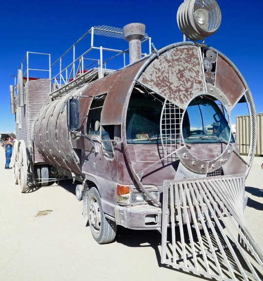 Train mutant vehicle at Burning Man.