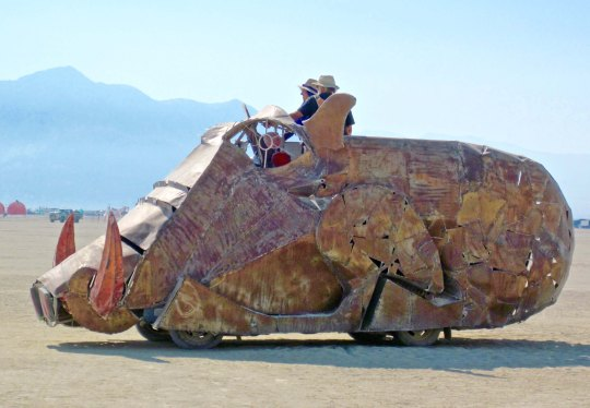 Sideview of warthog mutant vehicle at Burning Man.